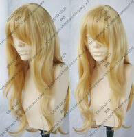 New Long Blonde High temperature wire Cosplay Party Wavy Wig