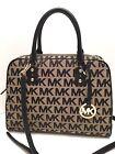 MICHAEL KORS LG Satchel Black *MK Signature* Shoulder Purse Tote Handbag $398