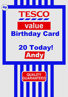 Personalised Tesco Value Funny/Spoof Birthday Greeting Card A5