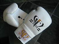 GFY Elite 12 14 16 oz White Leather LACE UP Boxing Gloves MMA Muay Thai LACES