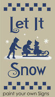STENCIL Let It Snow Winter Snowflake Kids Sled Country Prim Holiday Art Signs