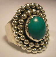 NAVAJO INDIAN NATIVE AMERICAN GREEN TURQUOISE STERLING SILVER RING J.JOHNSON10.5