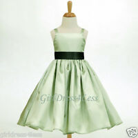 SAGE GREEN SPAGHETTI STRAPS EASTER FLOWER GIRL DRESS 18M 24M 2 4/4T 6/6X 8 10 12