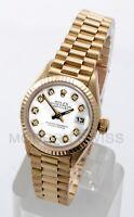 Rolex Ladies President 18K Yellow Gold White Diamond Dial Fluted 69178 Quickset