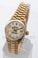 Rolex Ladies President 18K Yellow Gold MOP Diamond Fluted 69178 Quickset 2YR