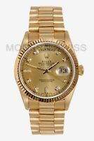 Rolex Mens Day Date President 18K Gold Champagne Diamond Dial Quickset 18038 2Y