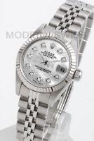 Rolex Ladies Datejust Steel White MOP Diamond Dial & 18K Gold Fluted Jubilee