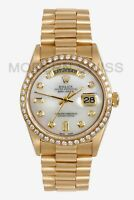 Rolex Mens Day Date President 18K Gold White MOP Diamond Dial Bezel Quickset 2Y