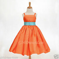 ORANGE SPAGHETTI STRAPS WEDDING PARTY FLOWER GIRL DRESS 12-18M 2 3/4 5/6 8 10 12