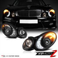 "03-06 Mercedes Benz W211 ""Nighthawk Black"" LED DRL Xenon Headlight [D2S] E55 AMG"