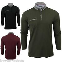 New Mens Brave Soul Long Sleeved Polo Shirt Button Collar T-Shirt Size S M XXL