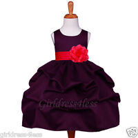 PLUM/RED WEDDING PAGEANT PICK UP FLOWER GIRL DRESS 6M 9M 12M 18M 2 4 6 7/8 10 12