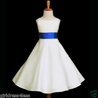 IVORY/ROYAL BLUE A-LINE WEDDING FLOWER GIRL DRESS 12-18M 2 3/4 5/6 8 10 12 14 16