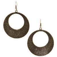 "2 3/4"" Long Nickel Free Gold Tn Circle Hoop Dangle French Wire Pierced Earrings"