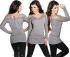 KOUCLA pullover maglione lungo vestito di maglia con strass pizzo lacci FELPA