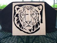 SCROLL SAW ART TIGER CAT KITTY FELINE