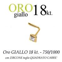 Piercing naso in ORO GIALLO 18kt. con ZIRCONE QUADRATO
