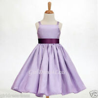 NEW LILAC EASTER PARTY SPAGHETTI STRAPS FLOWER GIRL DRESS 12-18M 2 4 5/6 8 10 12