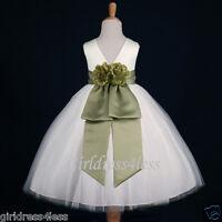 IVORY/SAGE BRIDAL PAGEANT RECITAL DANCING FLOWER GIRL DRESS 12M 2 4 6 8 10 12
