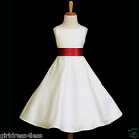 IVORY/APPLE RED HOLIDAY A-LINE WEDDING FLOWER GIRL DRESS 12M 2 4 6 8 10 12 14 16