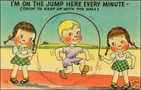 Linen Comic: Boy, Girls Playing Jump Rope. Pun.