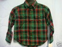 NWT Boys Green Plaid Button Down by Polo size 4/4T