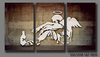 BANKSY FALLEN ANGEL GRAFFITI STREET ART FRAMED CANVAS