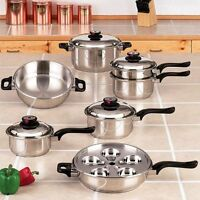 17pc 304 Stainless Steel Cookware Set  7-Ply Steam Control
