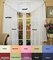 """Crushed Voile Window Curtain Panel 51x84"""" 2PCS Creative Linens FREE S&H"""