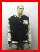 Varsity-Letterman Baseball Jacket  Black White