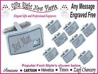 Personalised Rectangle Crystal Cufflinks Groomsman Gift