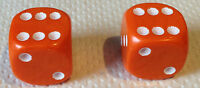 Pair of ORANGE Dice dust valve caps VW bike retro