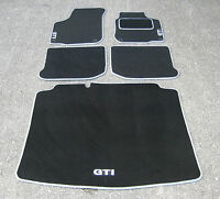 Car Mats in Black/Silver Trim to fit VW Golf Mk4 + Boot Mat + Silver GTI Logos