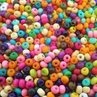 LOT de 350 PERLES rondes en BOIS multicolores 5,5  x 4mm création bijoux