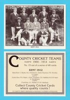COUNTY PRINT SERVICES - COUNTY  CRICKET  TEAM  CARD  -  KENT  -  1912