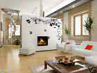LARGE BUTTERFLIES & FLOWERS WALL DECAL for home/business, colour WHITE or BLACK
