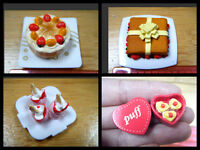 DOLLS HOUSE MINIATURE FOOD GATEAUX CAKE, PLATE BOW HEART BOX SWEETS 1/12th SCALE