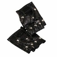 Punk Rock 70's 80's Fancy Dress Costume Black Studded leather look biker GLOVES