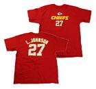 Reebok NFL Mens Kansas City Chiefs L. Johnson # 27 Short Sleeve Tee Shirt | Red