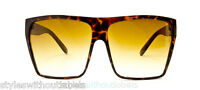 Super Flat Top Brown Hipster Sunglasses Oversize Frame Retro Designer Style 80s
