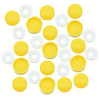 NUMBER PLATE YELLOW TWO PIECE DOME SCREW CAP COVERS SNAP CAPS PRO-DEC FIXINGS