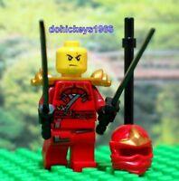 New LEGO Minifig KAI ZX + 2 Ninja Swords Ninjago 9441 Red Minifigure