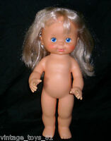"""12"""" VINTAGE IDEAL TOY CORP 1980 BLONDE DOLL PRETTY CURLS GIRL RUBBER BLUE EYES"""