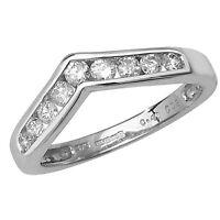 9ct White Gold 50pt Diamond Channel Set 9 Stone Wishbone Ring *RD371W