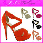 NEW LADIES STRAPPY ANKLE PEEP TOE STILETTO HIGH HEEL EVENING SANDALS SIZE UK 3-8