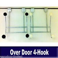 4 Hook Over Door Coat Clothes Hanger Chrome with Plastic Balls New