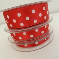 2 metres red /white big spot polka dot ribbon satin 10mm 15mm & 25mm Berisfords