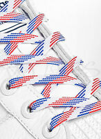 FLAT RED WHITE BLUE SHOE LACES LONG SHOELACES - 8mm wide - 11 LENGTHS