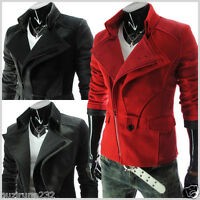 (DJK21) THELEES Mens Casual Slim Rider Style Stretchy Zipper Jacket M L XL 2XL