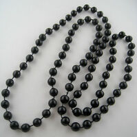 Vintage Black Plastic Bead Necklace 32 Inches